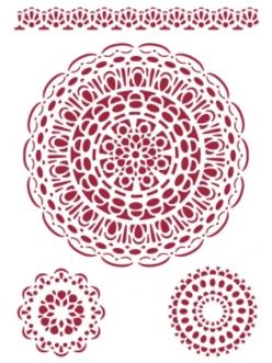 Трафарет пластиковый KSG097 Кружево, салфетки, 21х29,7 см, Stamperia