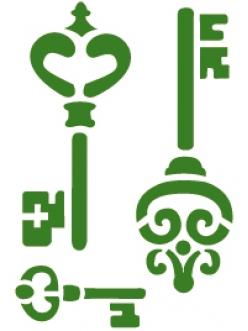 """Трафарет объемный """"Ключи"""" Stamperia, толщина 2 мм, размер14,5х19,7 см"""