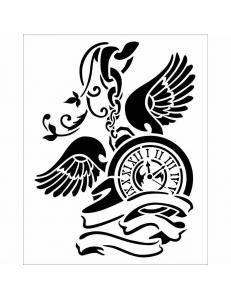 """Трафарет объемный """"Часы на цепочке"""", толщина 0,5 мм, 20х25 см, Stamperia KSTD034"""