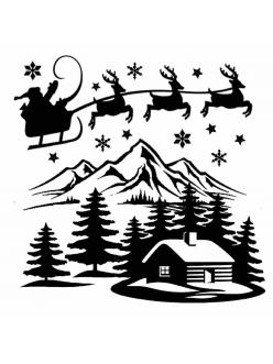 Трафарет объемный Рождество, толщина 0,5 мм, 18х18 см, Stamperia
