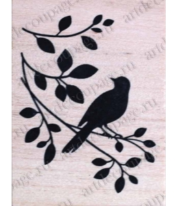 "Штамп резиновый ""Птичка на ветке"" WВ06A3, 4,5х6 см"