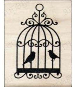 """Штамп резиновый """"Птицы в клетке"""" WВ07A3, 4,5х6 см"""
