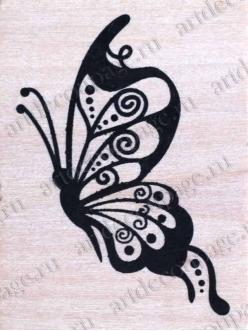 Штамп резиновый Большая бабочка WВ10A3, 4,5х6 см