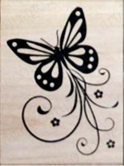 Штамп резиновый Бабочка WВ12A3, 4,5х6 см
