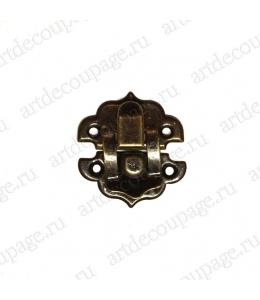Замок для шкатулок 28х31 мм, цвет античная бронза