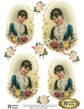 """Переводная декупажная карта Vintage Design D-044 """"Дама в цветах"""", А4, 15 микрон"""