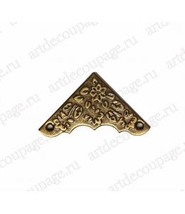 Декоративный  уголок для шкатулок 37х37х11 мм, цвет античная бронза, 4 штуки