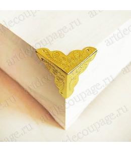 Декоративный  уголок для шкатулок 35х35 мм, цвет золото, 1 штука
