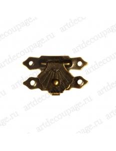 Замочек для шкатулки 19х30 мм, цвет античная бронза