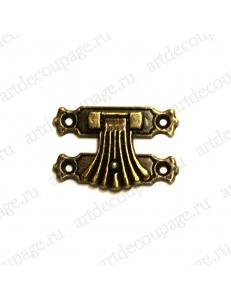 Замок для шкатулок 25х37 мм, цвет античная бронза
