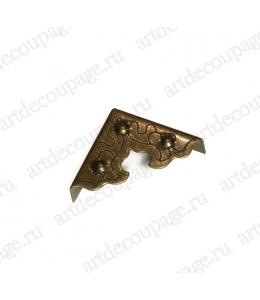 Декоративный  уголок для шкатулок 25х25х9 мм, цвет античная бронза, 4 штуки