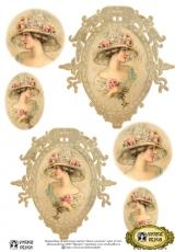 """Переводная декупажная карта Vintage Design D-010 """"Дама с розами"""", А4, 15 микрон"""