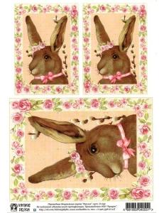 """Переводная декупажная карта Vintage Design D-055 """"Кролик с розами и вербой"""", А4, 15 микрон"""