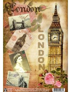 """Переводная декупажная карта Vintage Design D-067 """"Лондон"""", А4, 15 микрон"""