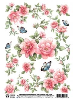 Переводная декупажная карта Vintage Design D-078 Розы и бабочки, А4, 15 микрон