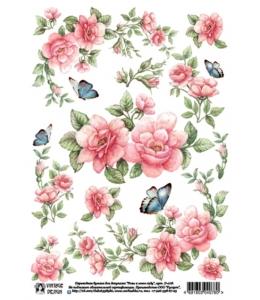 """Переводная декупажная карта Vintage Design D-078 """"Розы и бабочки"""", А4, 15 микрон"""