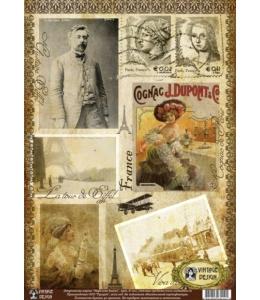 """Декупажная карта Vintage Design E-010 """"Франция, винтаж"""", А3"""
