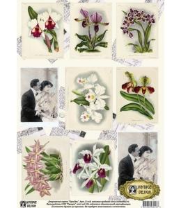 "Декупажная карта Vintage Design E-018 ""Орхидеи"", А3"