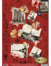 "Декупажная карта Vintage Design E-019 ""Париж в цветах"", А3"