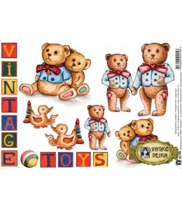 """Декупажная карта Vintage Design S-015 """"Винтажные игрушки"""", А4, 40 г/м2"""
