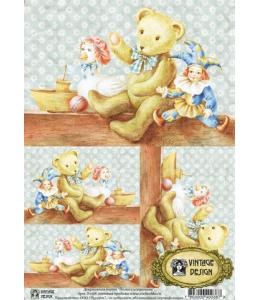 """Декупажная карта Vintage Design S-038 """"Полка с игрушками"""", А4, 40 г/м2"""