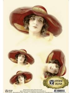 """Декупажная карта Vintage Design S-047 """"Женщина в шляпе"""", А4, 40 г/м2"""
