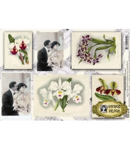 """Декупажная карта Vintage Design S-054 """"Орхидеи. Старые открытки"""", А4, 40 г/м2"""