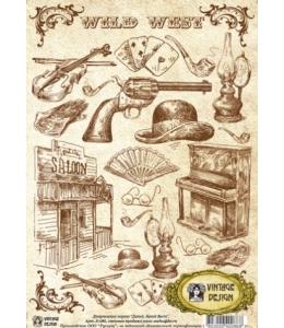 """Декупажная карта Vintage Design S-086 """"Дикий, дикий Вест"""", А4, 40 г/м2"""