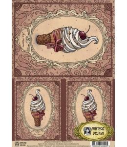 """Декупажная карта Vintage Design S-090 """"Мороженое"""", А4, 40 г/м2"""