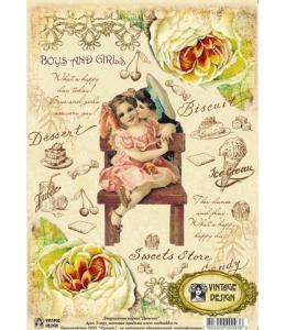 """Декупажная карта Vintage Design S-093 """"Мальчик и девочка, винтаж"""", А4, 40 г/м2"""
