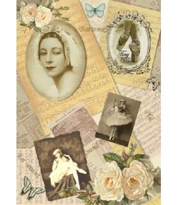 """Декупажная карта Vintage Design S-163 """"Балерина"""", А4, 40 г/м2"""