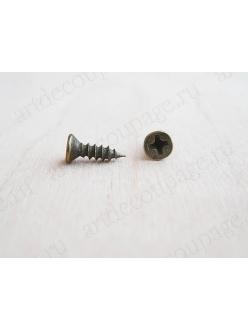 Мини шуруп для фурнитуры 8х4 мм, 2 штуки, античная бронза