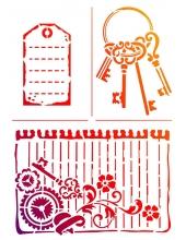 "Трафарет для росписи ""Ключи и бирки"", 21х29,7 см, Viva Decor (Германия)"