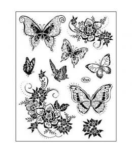 """Штампы силиконовые Viva Decor Silikon Stempel """"Цветы и бабочки"""", 14х18 см"""