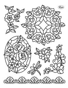 """Штампы силиконовые Viva Decor Silikon Stempel D86 """"Tiffany, Цветы и стрекоза"""",14х18 см, Германия"""