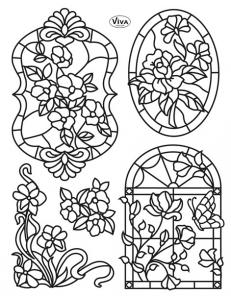 """Штампы силиконовые Viva Decor Silikon Stempel D87 """"Tiffany. Роза в окне"""",14х18 см, Германия"""