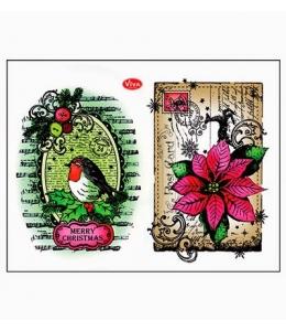 """Штампы силиконовые Viva Decor Silikon Stempel D91 """"Снегирь и рождественская открытка"""", 14х18 см, Германия"""