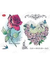 """Штампы силиконовые Viva Decor Silikon Stempel D97 """"Роза и сердце из цветов"""" коллекция Винтажный коллаж"""