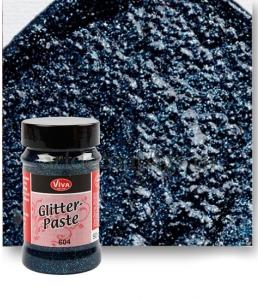 Паста объемная с блестками Viva-Glitter Paste, цвет 604 темно-синий, 90 мл