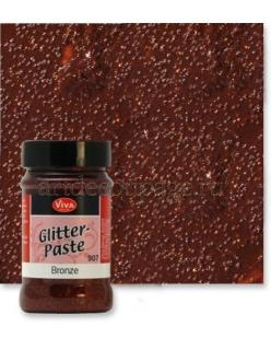 Паста объемная с блестками Viva Glitter Paste, цвет 907 бронза, 90 мл