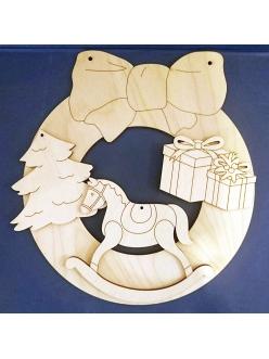 Заготовка Новогодний венок с игрушками, 21х19, 21х19 см, фанера, Woodbox