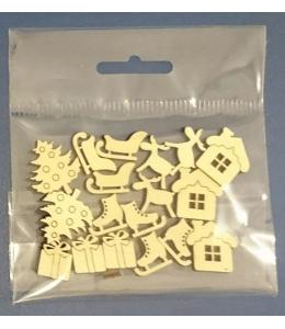 """Набор деревянных плоских мини фигурок """"Новогодние символы"""""""