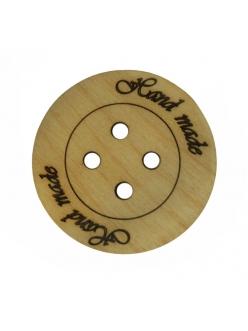 Набор деревянных пуговиц Hand made, 3 шт, 5 см