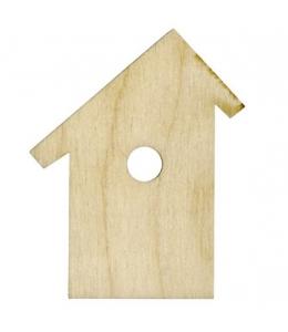 Декоративная плоская фигурка Скворечник со скошенной крышей, фанера, 8х10 см, Woodbox