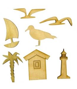 """Декоративные плоские фигурки из фанеры, набор """"Берег моря"""", 5 шт"""
