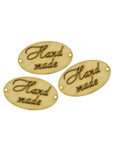 Бирки овальные деревянные Hand made, 5 см, 3 шт.