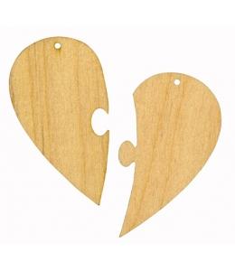 Заготовка фигурка плоская Сердечко-пазл, фанера, 10 см, Woodbox