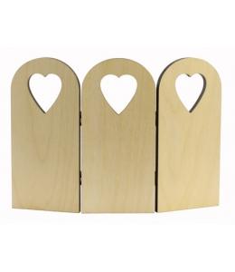 Заготовка ширма декоративная с сердечками, фанера, 17х24 см, WOODBOX