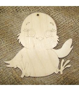 Декоративная плоская фигурка Птенец, фанера, 9,5х10 см, Woodbox