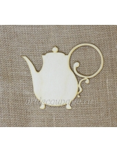 Декоративная плоская фигурка Кофейник, фанера, 15х11,5 см, Woodbox